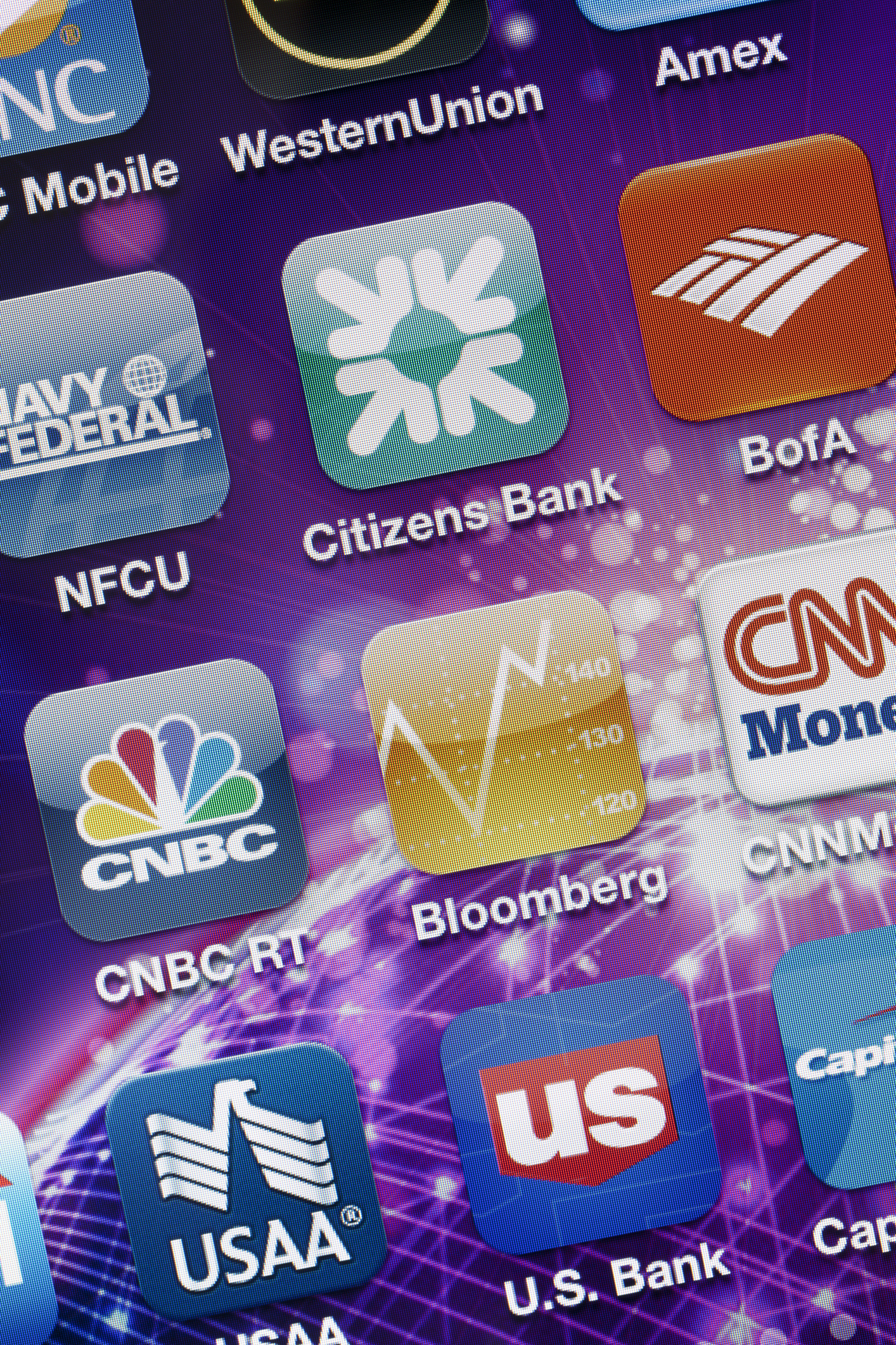 Finance Apps on Apple iPhone 4 Screen