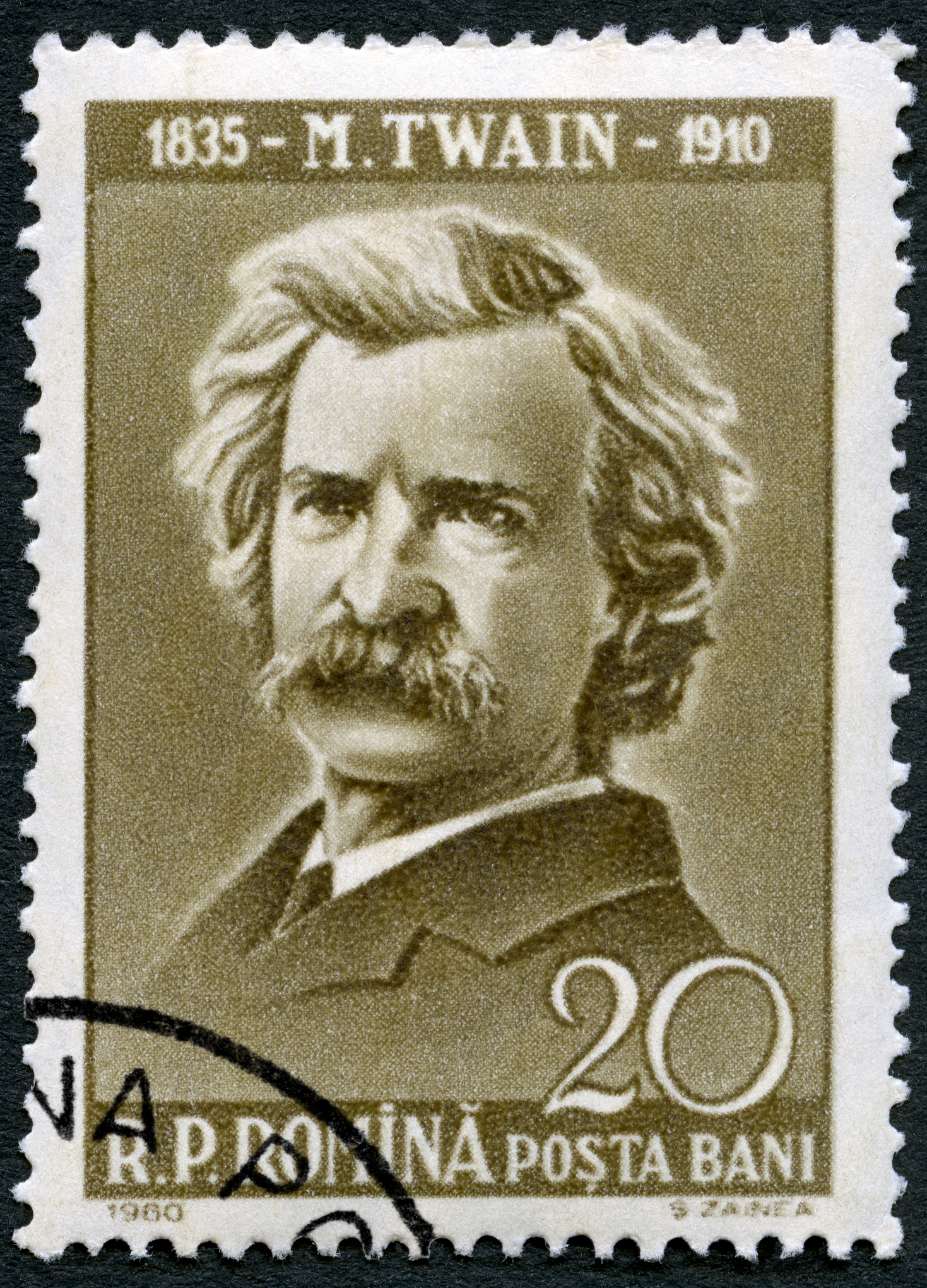 Postage stamp Romania 1960 shows Mark Twain (1835-1910)